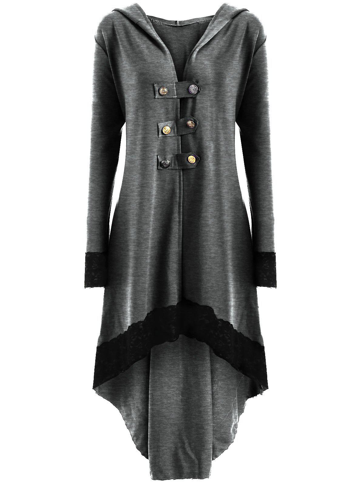 Latest High Low Hooded Plus Size Lace-up Coat