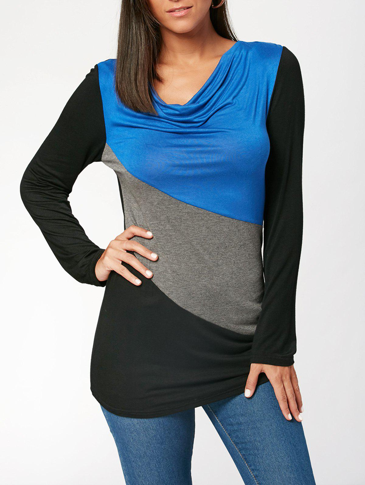 Color Block Long Sleeve T-shirtWOMEN<br><br>Size: XL; Color: COLORMIX; Material: Polyester,Spandex; Shirt Length: Regular; Sleeve Length: Full; Collar: Cowl Neck; Style: Casual; Embellishment: Pearls; Pattern Type: Others; Season: Fall,Spring; Elasticity: Elastic; Weight: 0.2700kg; Package Contents: 1 x T-shirt;