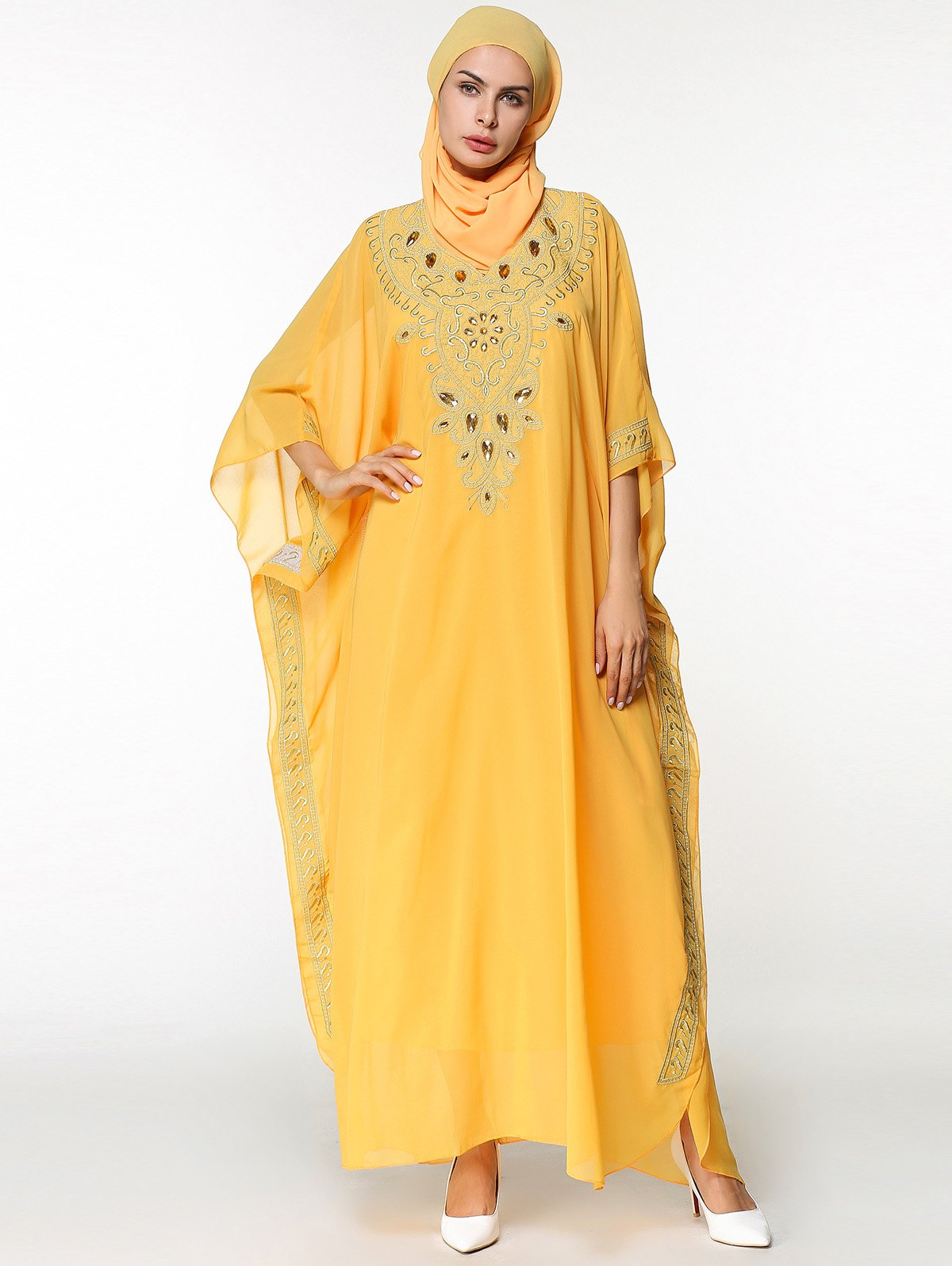 Shops Ankle Length Batwing Sleeve Chiffon Arabic Dress