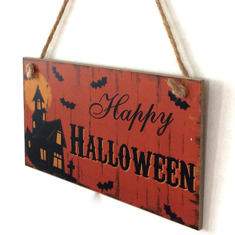Halloween Castle Pattern Door Decor Wooden Hanging SignHOME<br><br>Color: DARKSALMON; Event &amp; Party Item Type: Party Decoration; Occasion: Halloween,Party; Shape/Pattern: Animal,Moon; Material: Wood; Size(CM): 20.3*11*0.5cm; Package Contents: 1 x Wood Sign;