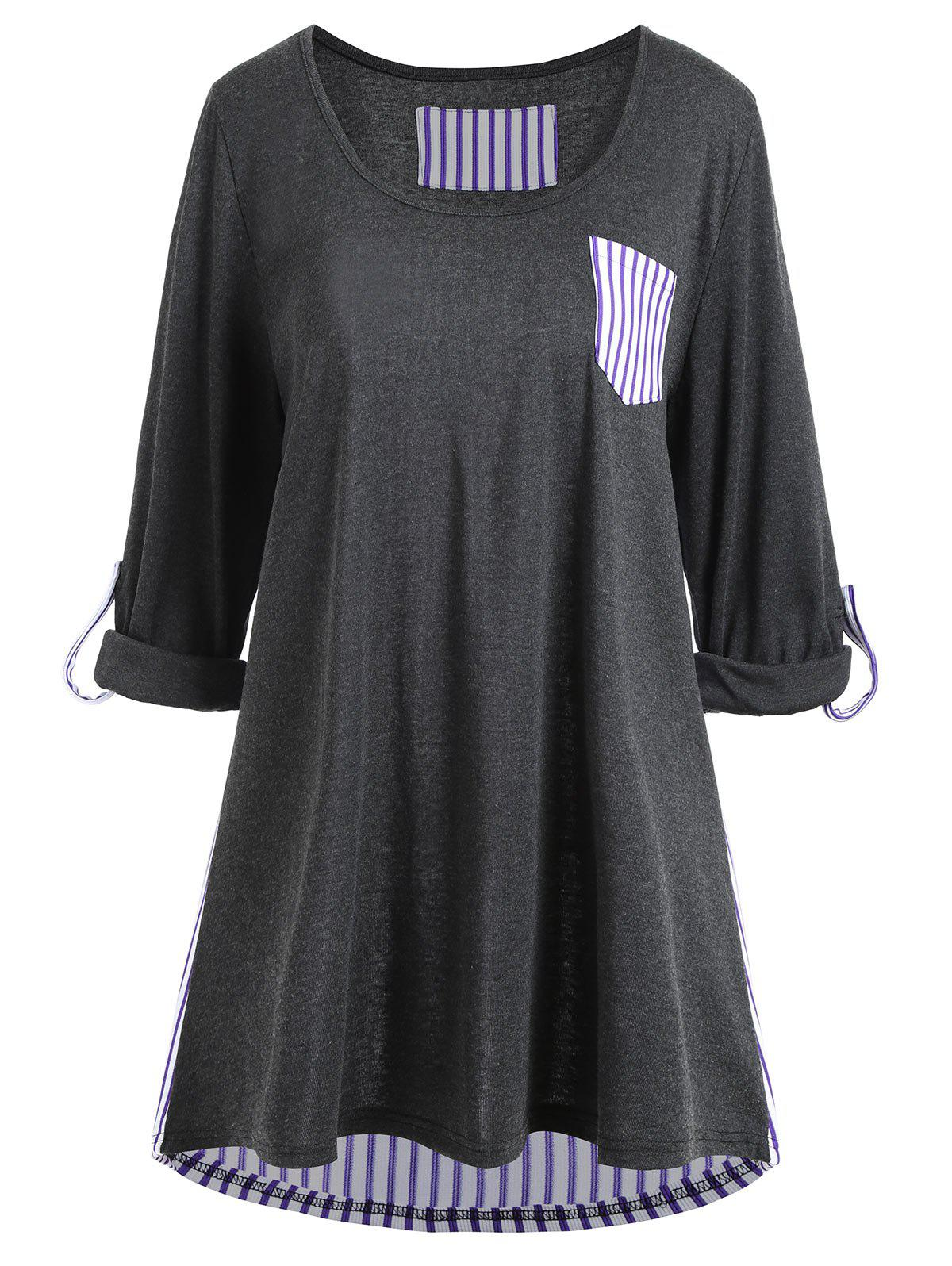 Plus Size Striped Panel High Low Pocket TeeWOMEN<br><br>Size: 5XL; Color: DEEP GRAY; Material: Cotton,Polyester; Shirt Length: Long; Sleeve Length: Full; Collar: Round Neck; Style: Casual; Season: Fall; Embellishment: Front Pocket; Pattern Type: Striped; Weight: 0.3700kg; Package Contents: 1 x T-shirt;