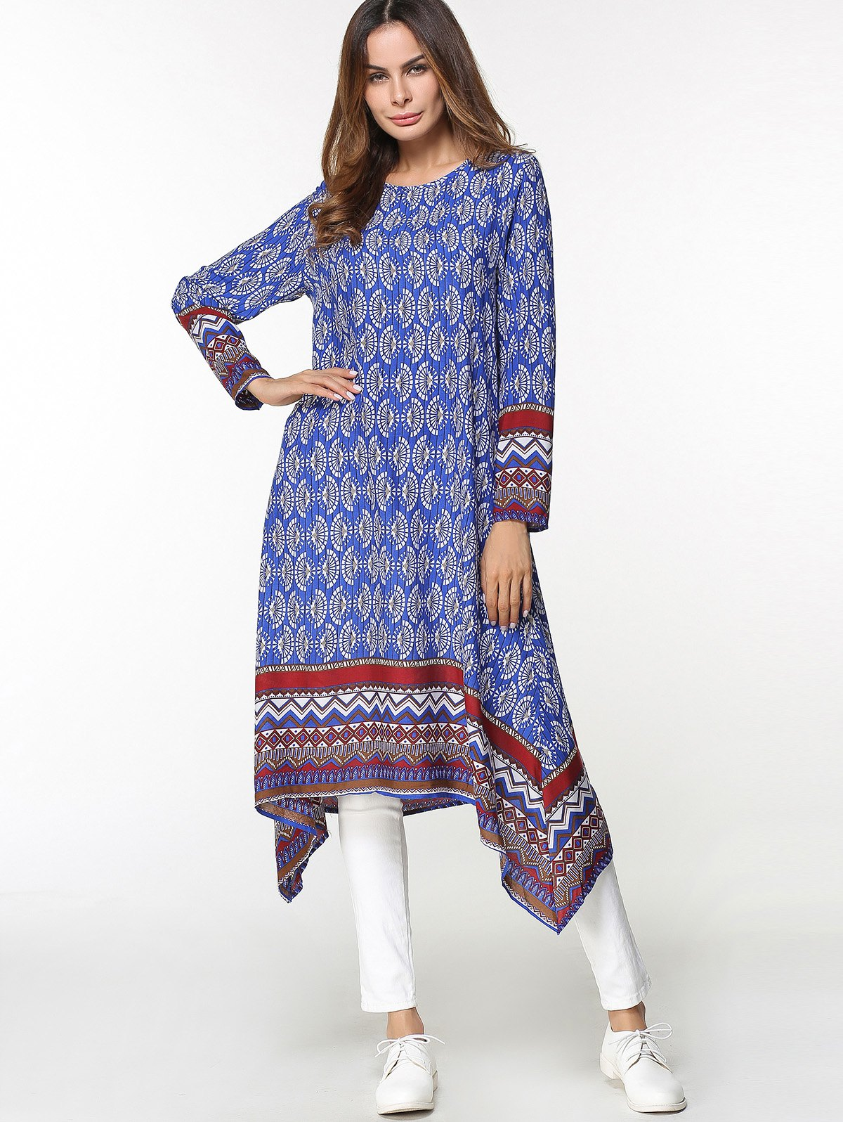 Latest Tribal Print Asymmetrical Midi Arabic Dress