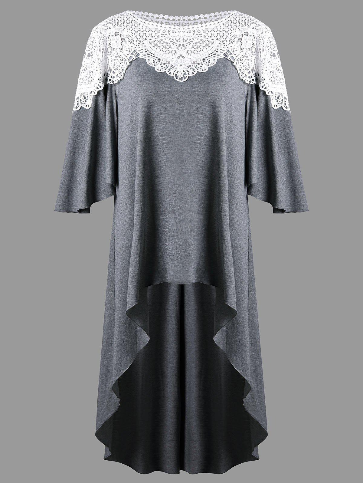 Crochet Insert Plus Size High Low TopWOMEN<br><br>Size: 2XL; Color: GRAY; Material: Polyester,Spandex; Shirt Length: Long; Sleeve Length: Half; Collar: Round Neck; Style: Fashion; Season: Fall,Spring; Pattern Type: Others; Weight: 0.4220kg; Package Contents: 1 x Top;