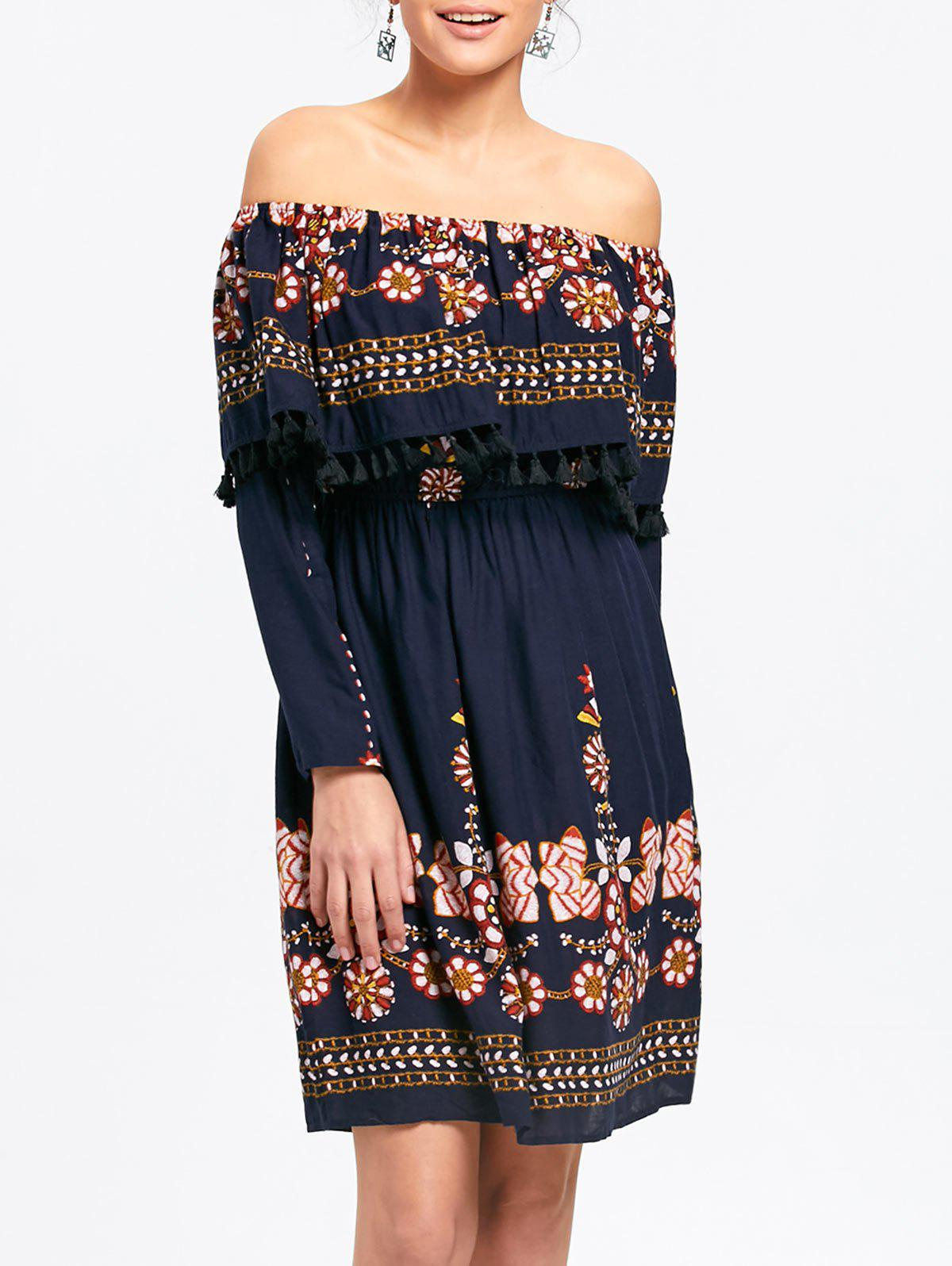 Online Floral Tassel Off The Shoulder Dress