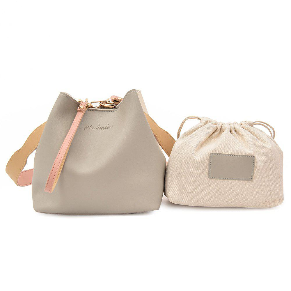 2 Pieces PU Leather Handbag SetSHOES &amp; BAGS<br><br>Color: GRAY; Handbag Type: Totes; Style: Fashion; Gender: For Women; Pattern Type: Solid; Handbag Size: Small(20-30cm); Closure Type: Magnetic Closure; Occasion: Versatile; Main Material: PU; Weight: 0.6000kg; Size(CM)(L*W*H): 30*14*21; Package Contents: 1 x Handbag, 1 x Drawstring Bag;