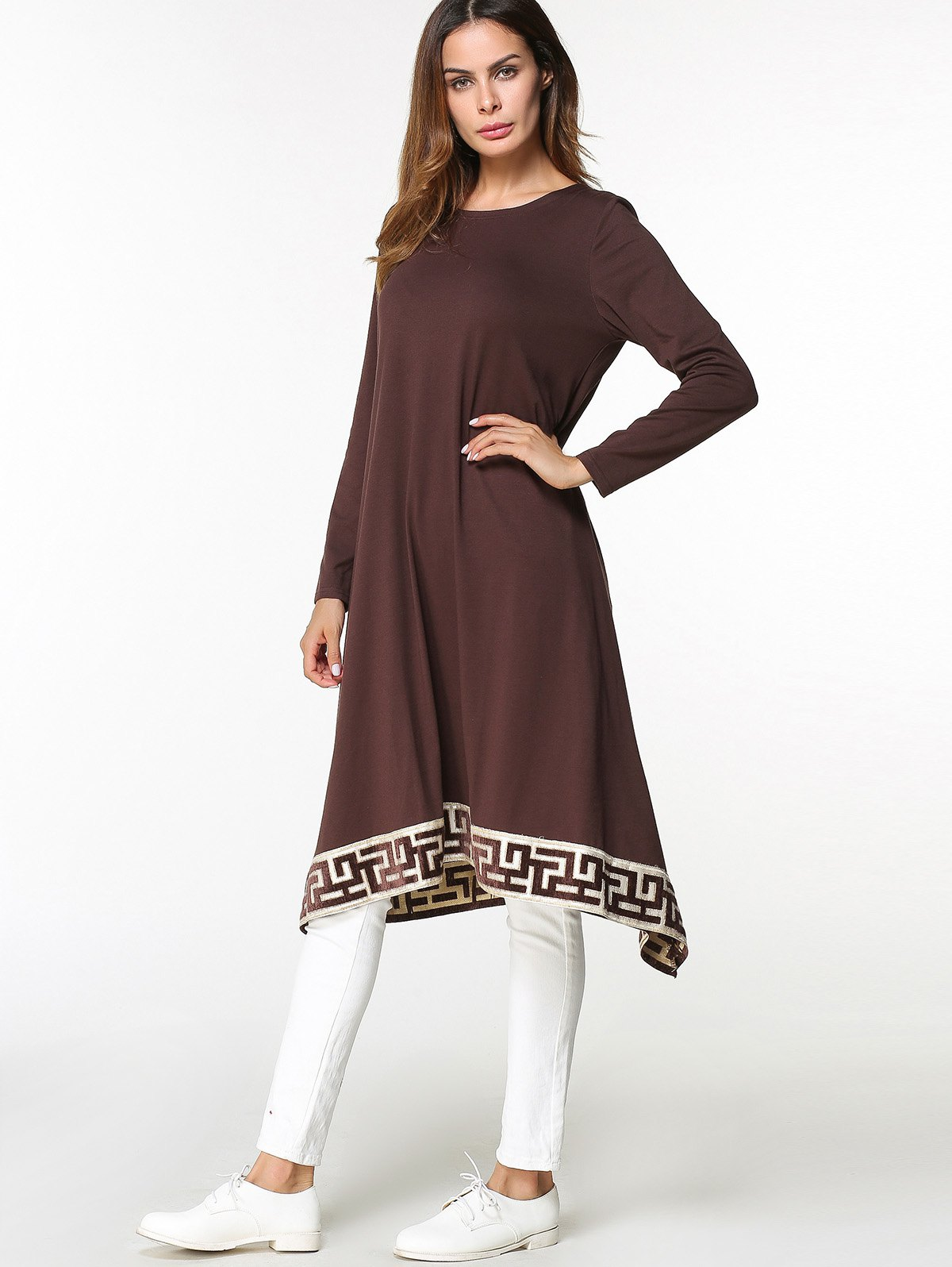 Sale Tribal Embroidered Asymmetrical Midi Arabic Dress