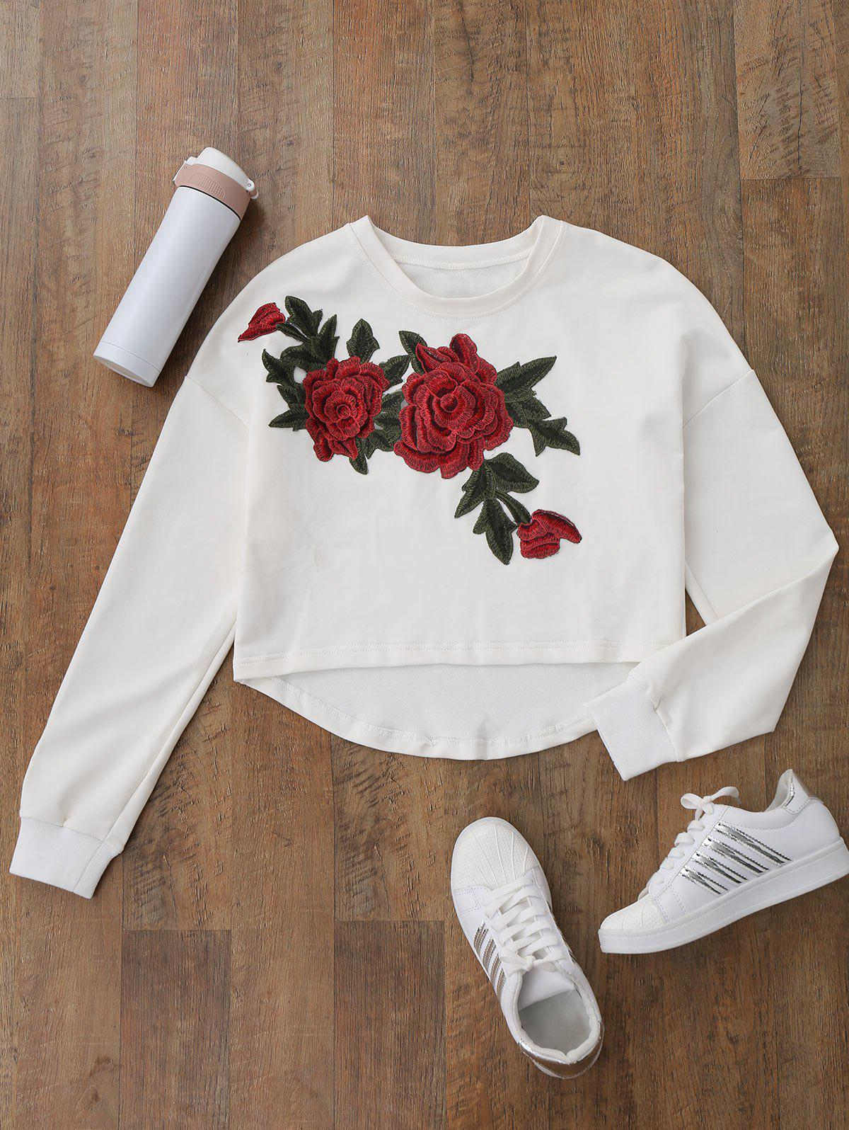 Fancy Floral Applique High Low Sweatshirt