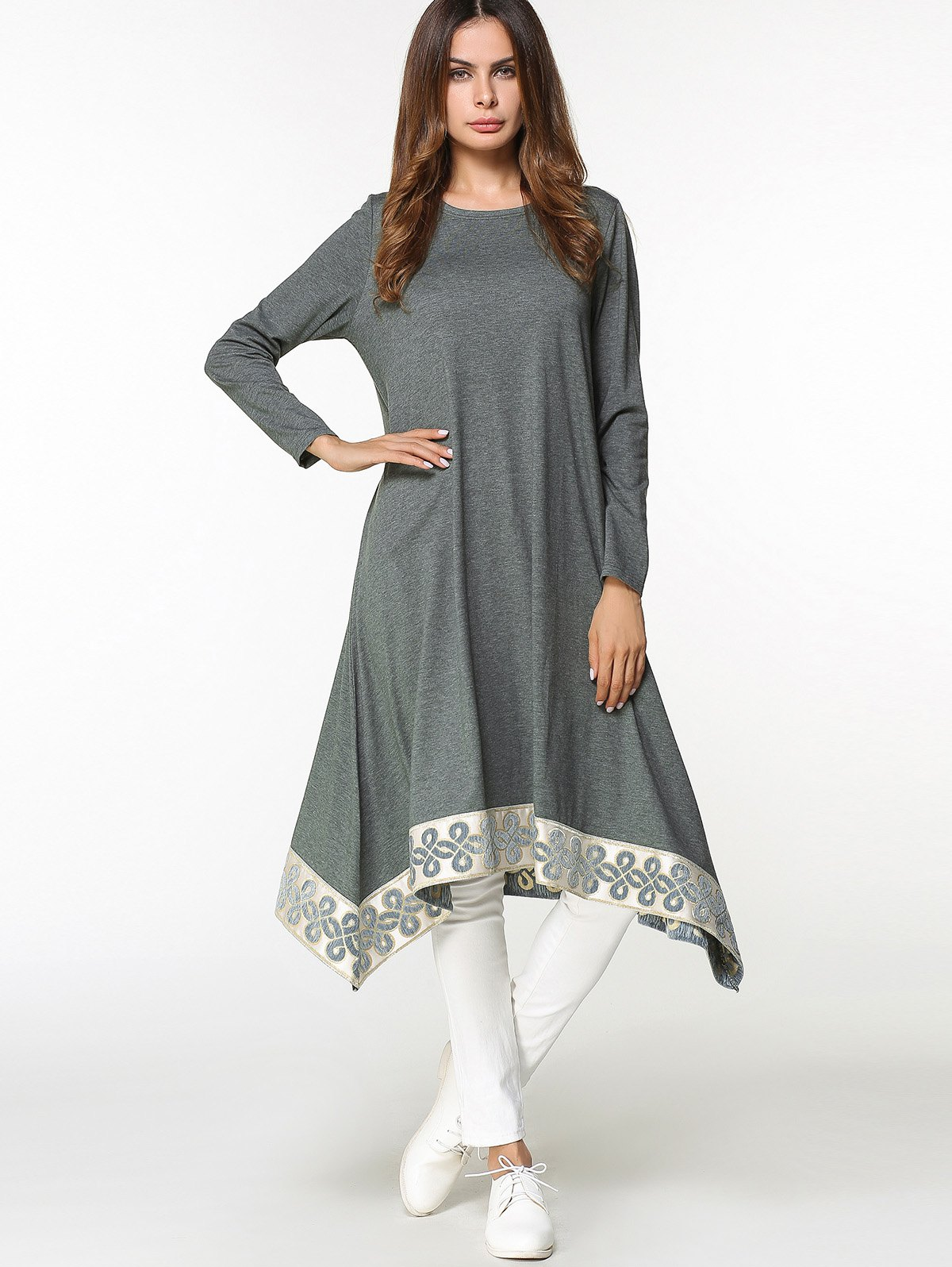 Online Tribal Asymmetrical Long Blouse Dress