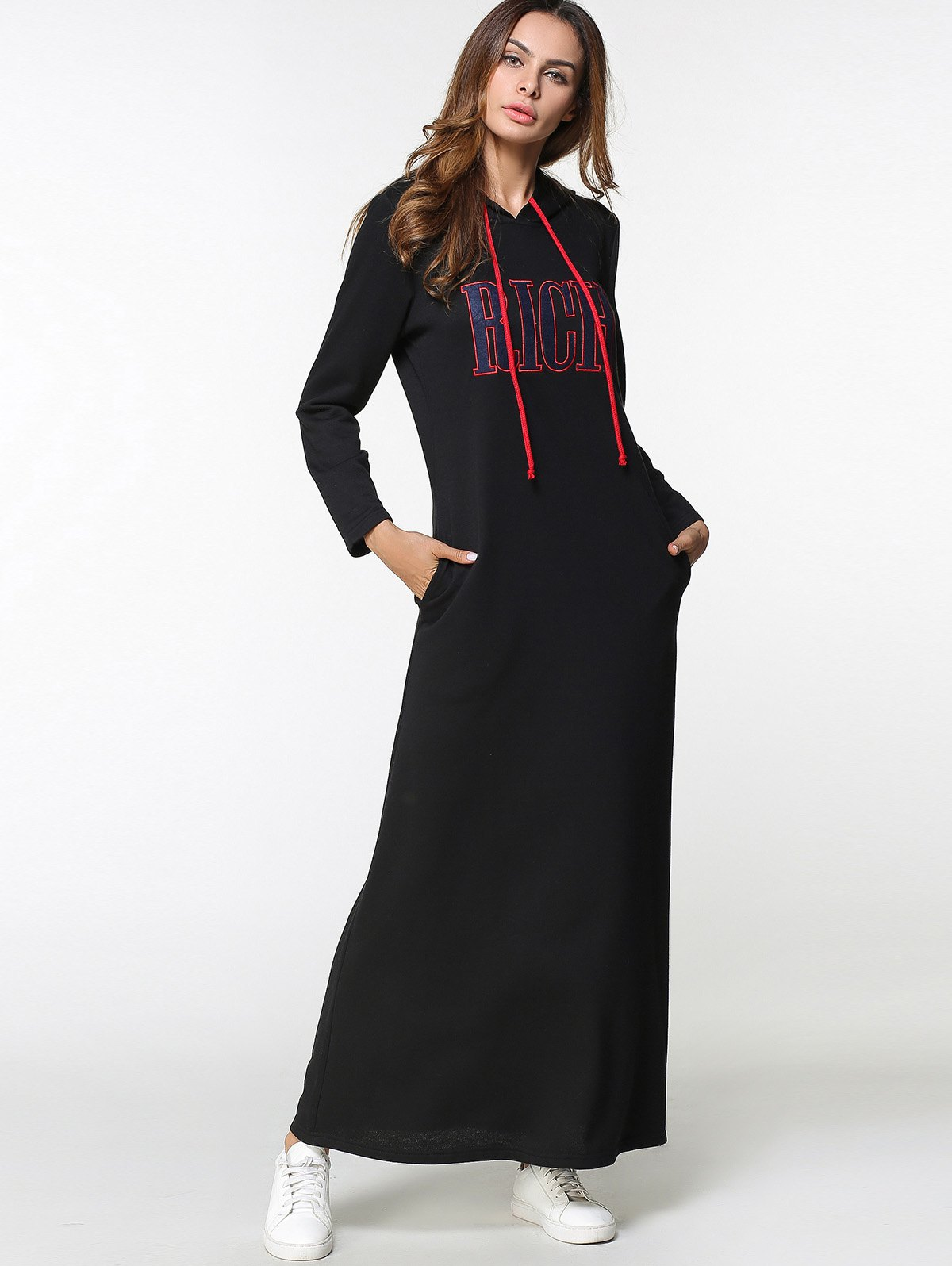Fashion Drawstring Letter Embroidered Maxi Hoodie Dress