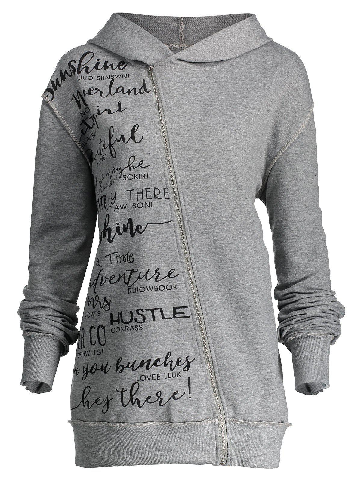 Skew Zipper Plus Size Letter Print HoodieWOMEN<br><br>Size: 3XL; Color: GRAY; Material: Polyester,Spandex; Shirt Length: Regular; Sleeve Length: Full; Style: Fashion; Pattern Style: Letter; Season: Fall,Winter; Weight: 0.5700kg; Package Contents: 1 x Hoodie;