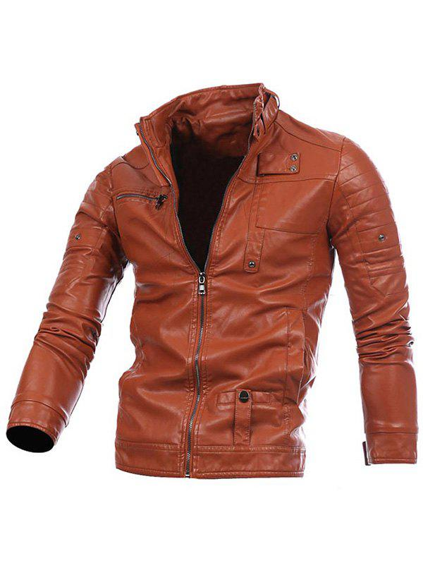 Zip Up Veste Motard En Cuir Brun XL