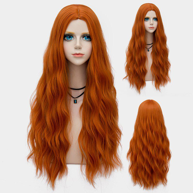 Long Middle Part Fluffy Water Wave Synthetic Party WigHAIR<br><br>Color: PEARL KUMQUAT; Type: Full Wigs; Cap Construction: Capless; Style: Wavy; Cap Size: Average; Material: Synthetic Hair; Bang Type: Middle; Length: Long; Occasion: Party; Length Size(CM): 70; Weight: 0.2530kg; Package Contents: 1 x Wig;