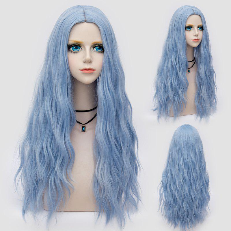Long Middle Part Fluffy Water Wave Synthetic Party WigHAIR<br><br>Color: WINDSOR BLUE; Type: Full Wigs; Cap Construction: Capless; Style: Wavy; Cap Size: Average; Material: Synthetic Hair; Bang Type: Middle; Length: Long; Occasion: Party; Length Size(CM): 70; Weight: 0.2530kg; Package Contents: 1 x Wig;