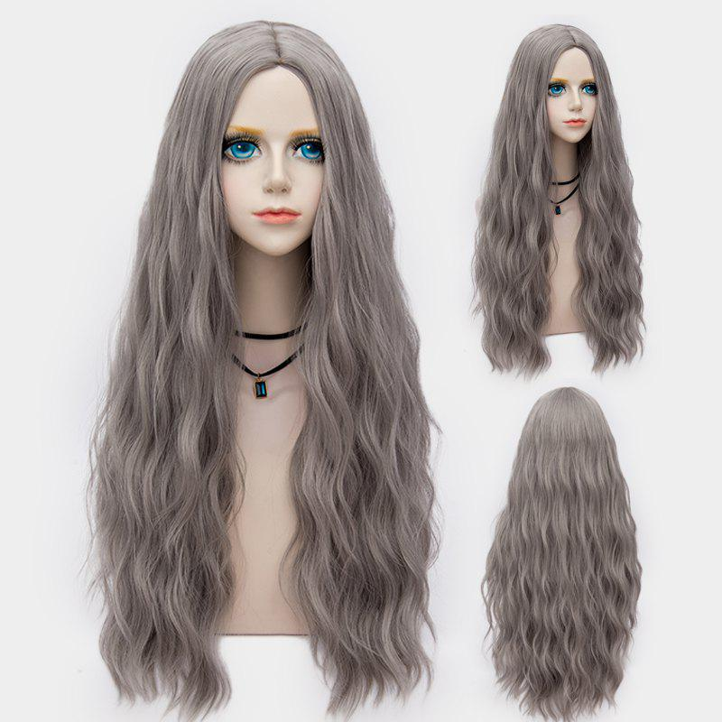 Long Middle Part Fluffy Water Wave Synthetic Party WigHAIR<br><br>Color: LIGHT GRAY; Type: Full Wigs; Cap Construction: Capless; Style: Wavy; Cap Size: Average; Material: Synthetic Hair; Bang Type: Middle; Length: Long; Occasion: Party; Length Size(CM): 70; Weight: 0.2530kg; Package Contents: 1 x Wig;