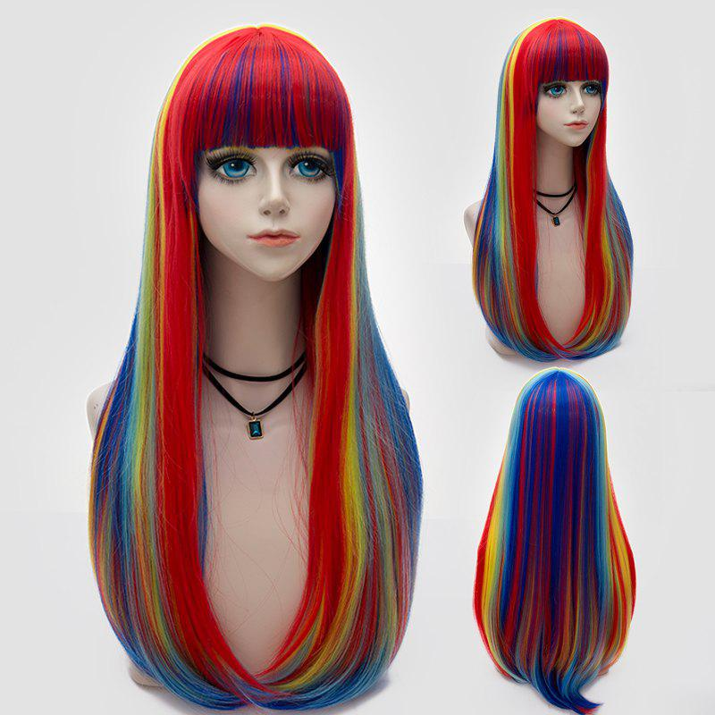 Long Full Bang Tail Adduction Straight Rainbow Synthetic Party WigHAIR<br><br>Color: COLORFUL; Type: Full Wigs; Cap Construction: Capless; Style: Straight; Cap Size: Average; Material: Synthetic Hair; Bang Type: Full; Length: Long; Occasion: Party; Length Size(CM): 70; Weight: 0.3600kg; Package Contents: 1 x Wig;
