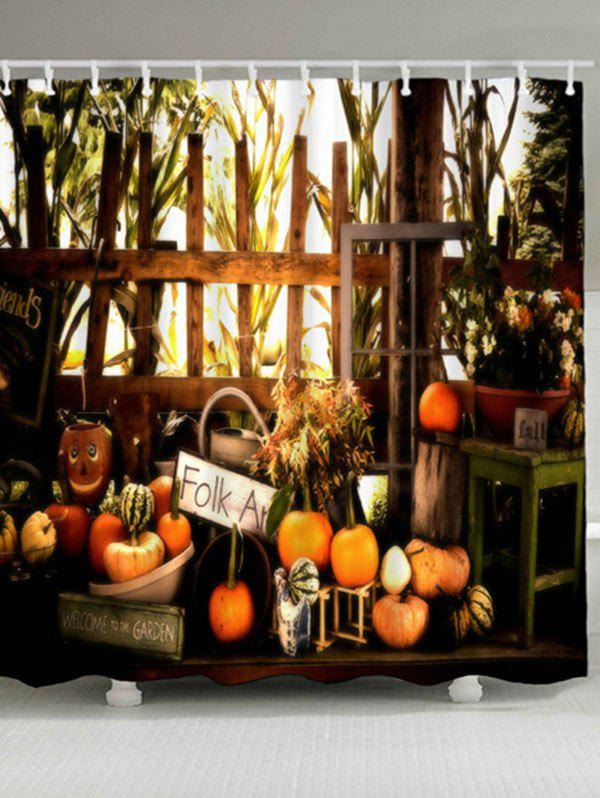 Waterproof Pumpkin Halloween Shower CurtainHOME<br><br>Size: W71 INCH * L79 INCH; Color: COLORMIX; Products Type: Shower Curtains; Materials: Polyester; Pattern: Plant,Pumpkin; Style: Festival; Number of Hook Holes: W59 inch*L71 inch: 10; W71 inch*L71 inch: 12; W71 inch*L79 inch: 12; Package Contents: 1 x Shower Curtain 1 x Hooks (Set);