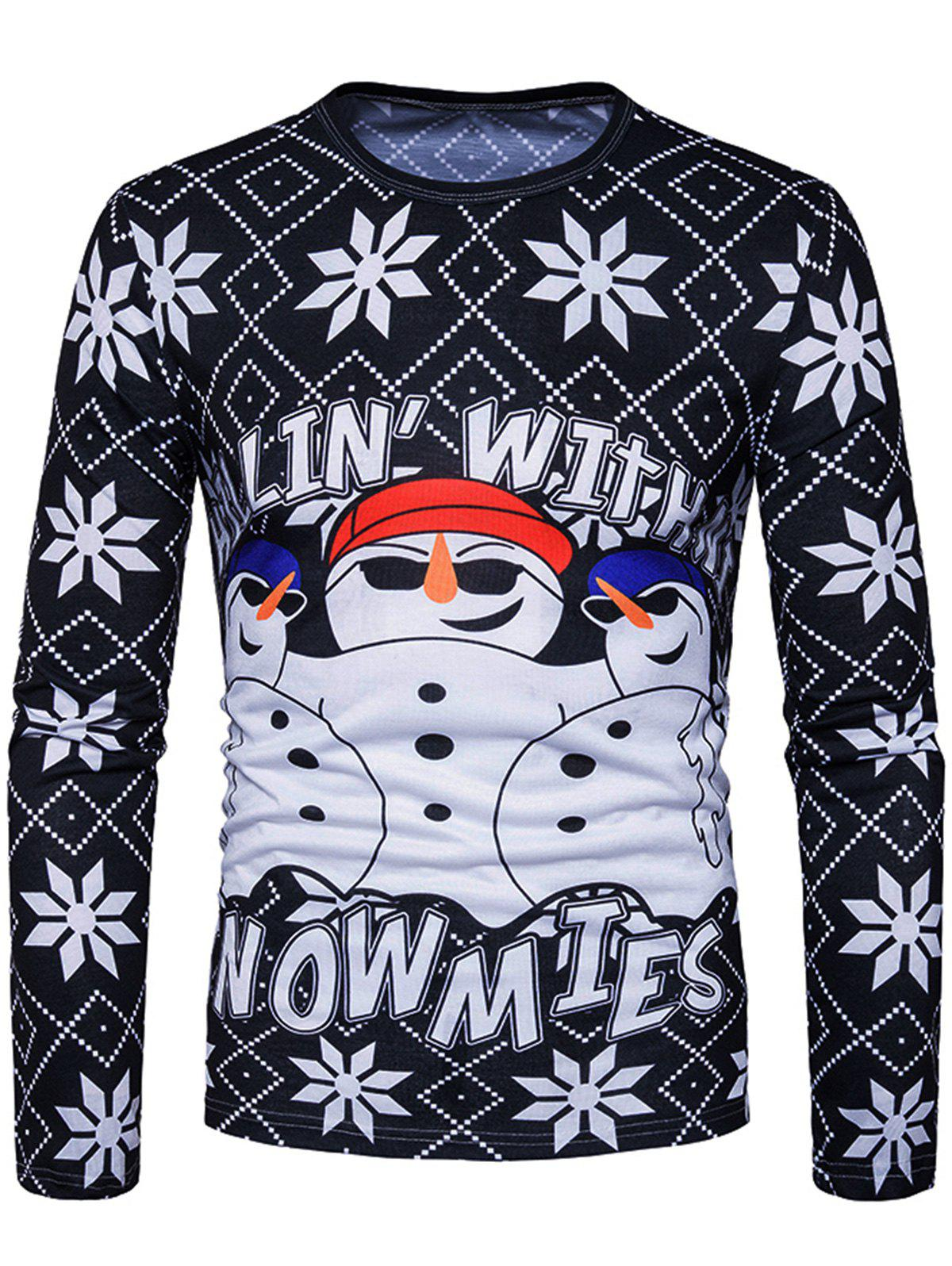 3D Snowman Graphic Print T-shirtMEN<br><br>Size: L; Color: BLACK; Material: Cotton,Polyester; Sleeve Length: Full; Collar: Crew Neck; Style: Casual,Fashion,Streetwear; Pattern Type: 3D,Character,Letter; Season: Fall; Weight: 0.3000kg; Package Contents: 1 x T-shirt;