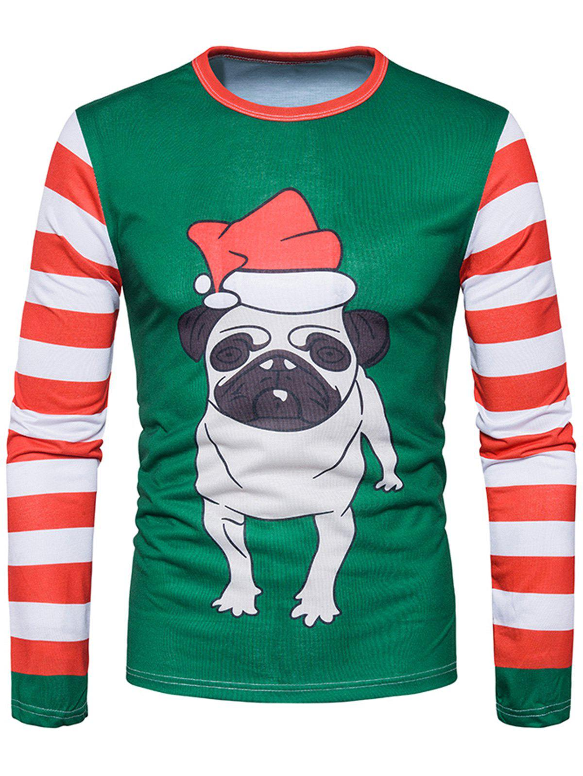 3D Dog Print Stripe Long Sleeve T-shirtMEN<br><br>Size: L; Color: DEEP GREEN; Material: Cotton,Polyester; Sleeve Length: Full; Collar: Crew Neck; Style: Casual,Fashion,Streetwear; Pattern Type: 3D,Animal,Striped; Season: Fall; Weight: 0.3000kg; Package Contents: 1 x T-shirt;