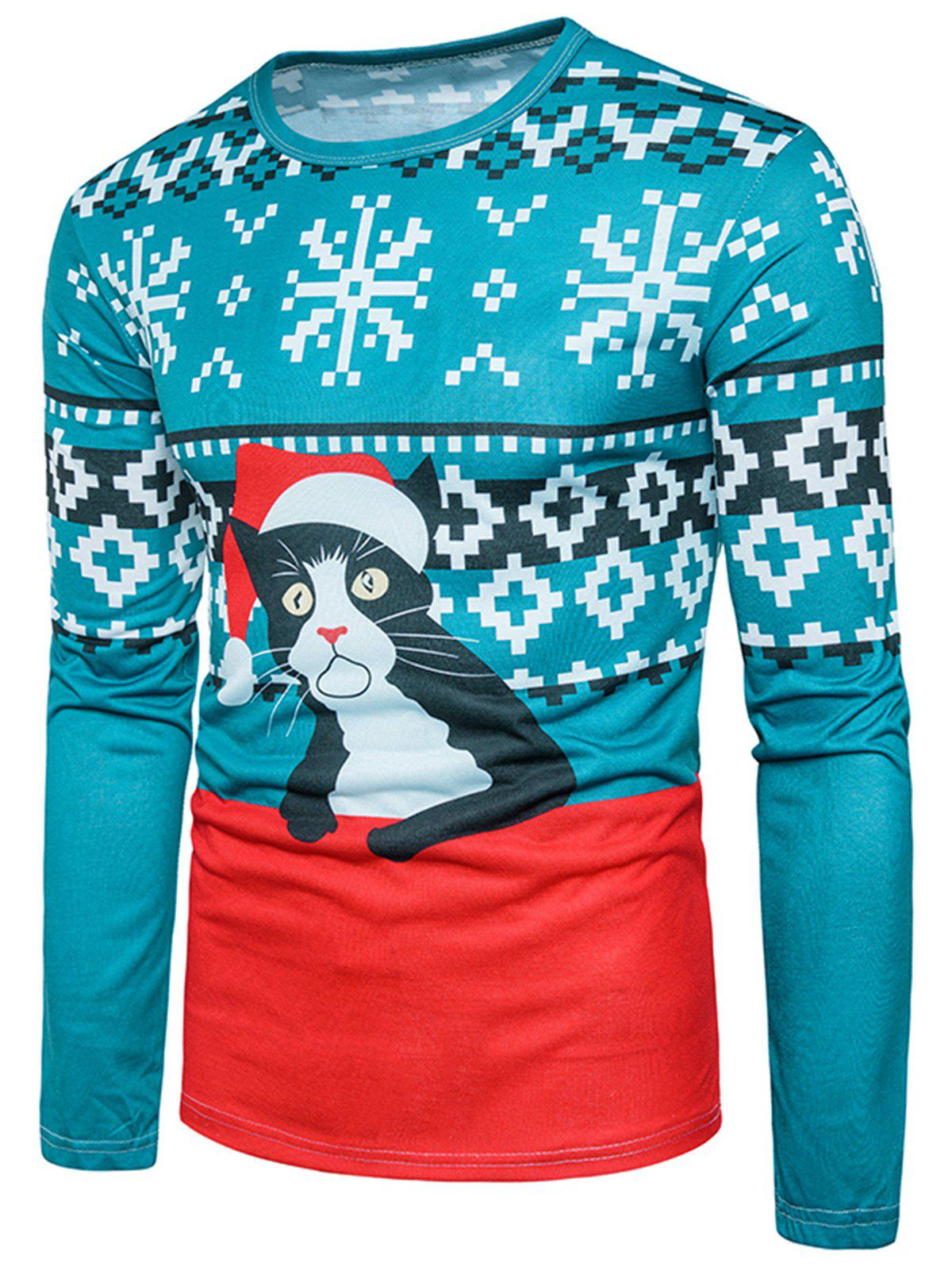3D Cat Geometric Print Christmas T-shirtMEN<br><br>Size: 2XL; Color: COLORMIX; Material: Cotton,Polyester; Sleeve Length: Full; Collar: Crew Neck; Style: Casual,Fashion,Streetwear; Pattern Type: 3D,Animal,Geometric; Season: Fall; Weight: 0.3000kg; Package Contents: 1 x T-shirt;