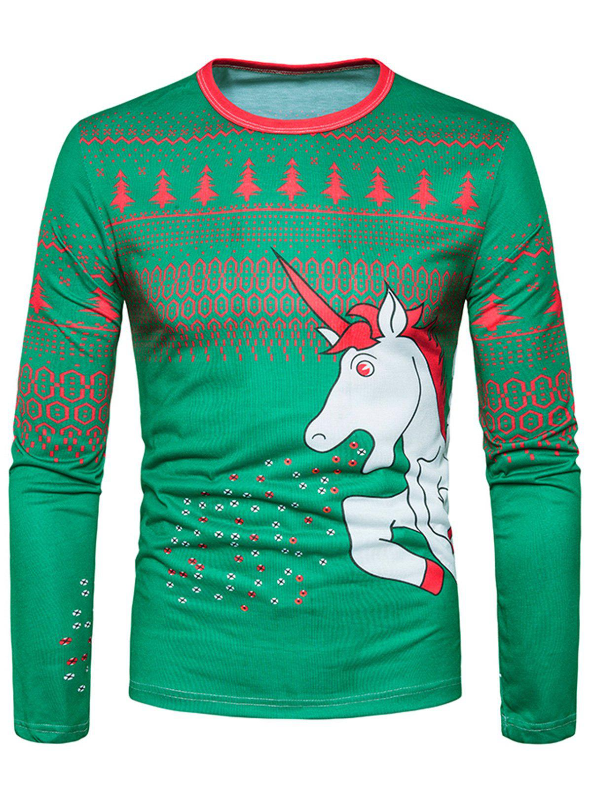 Chic 3D Unicorn Geometric Print Christmas T-shirt