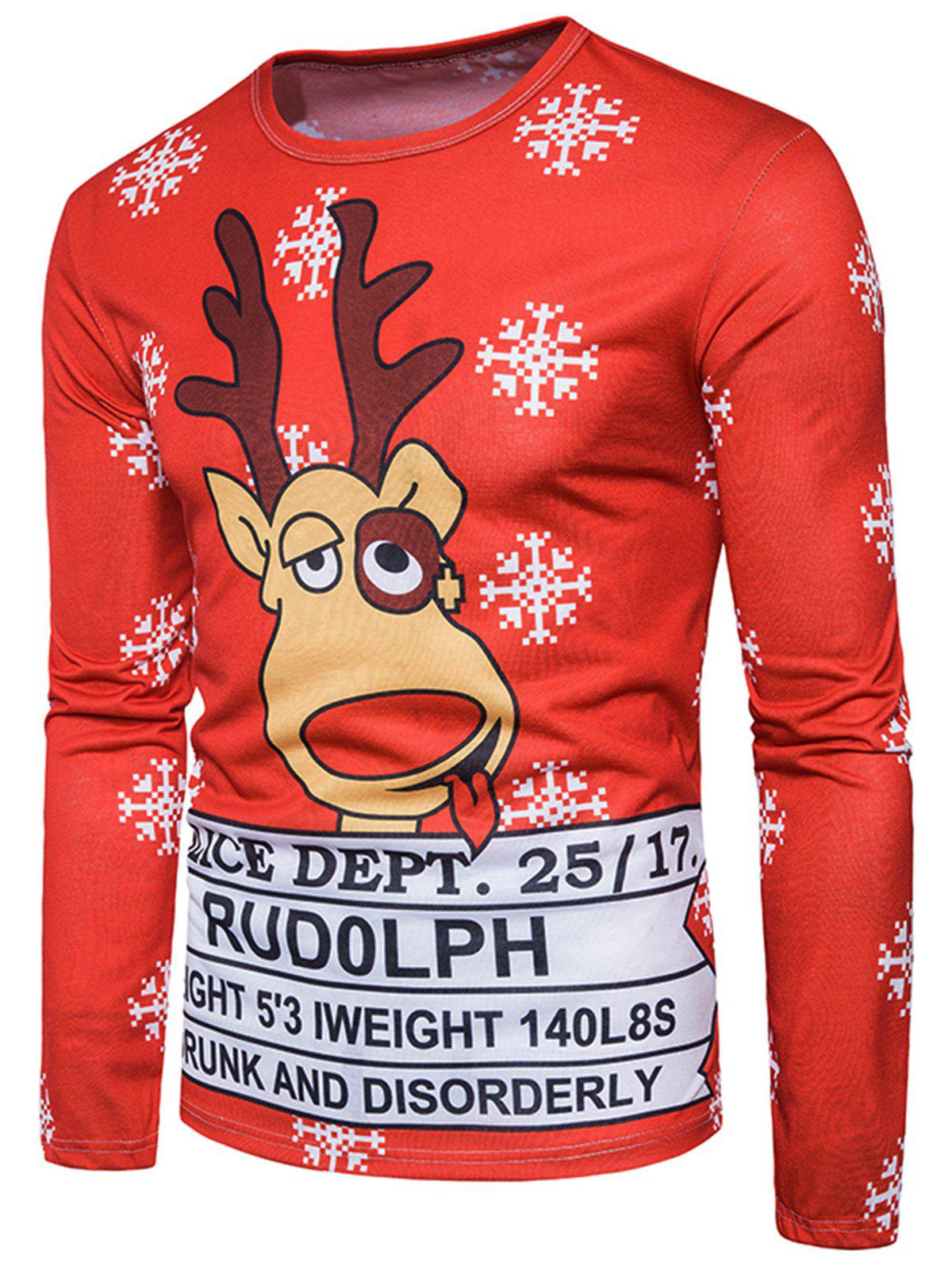 3D Reindeer Graphic Print Christmas T-shirtMEN<br><br>Size: 2XL; Color: COLORMIX; Material: Cotton,Polyester; Sleeve Length: Full; Collar: Crew Neck; Style: Casual,Fashion,Streetwear; Pattern Type: 3D,Character,Letter; Season: Fall; Weight: 0.3000kg; Package Contents: 1 x T-shirt;