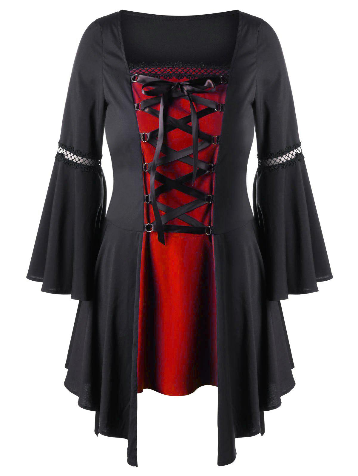 Plus Size Lace Up Handkerchief Hem TopWOMEN<br><br>Size: 5XL; Color: RED WITH BLACK; Material: Polyester; Shirt Length: Long; Sleeve Length: Full; Collar: Square Neck; Style: Gothic; Season: Fall,Spring; Pattern Type: Solid; Weight: 0.3500kg; Package Contents: 1 x Top;