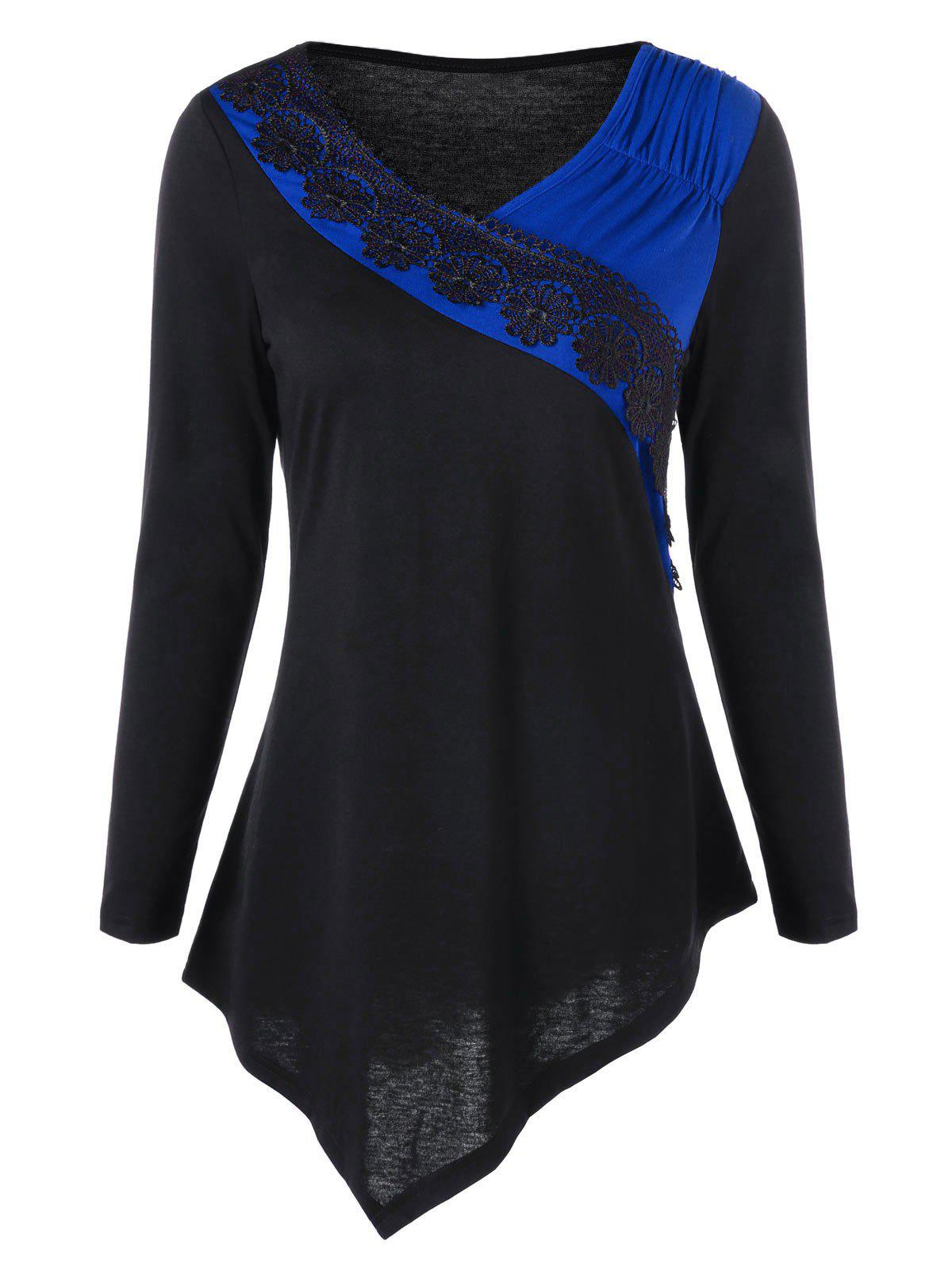Two Tone Lace Trim Asymmetrical TopWOMEN<br><br>Size: L; Color: BLUE; Material: Polyester,Spandex; Shirt Length: Long; Sleeve Length: Full; Collar: V-Neck; Style: Casual; Embellishment: Lace; Pattern Type: Solid; Season: Fall,Spring; Weight: 0.2400kg; Package Contents: 1 x Top;