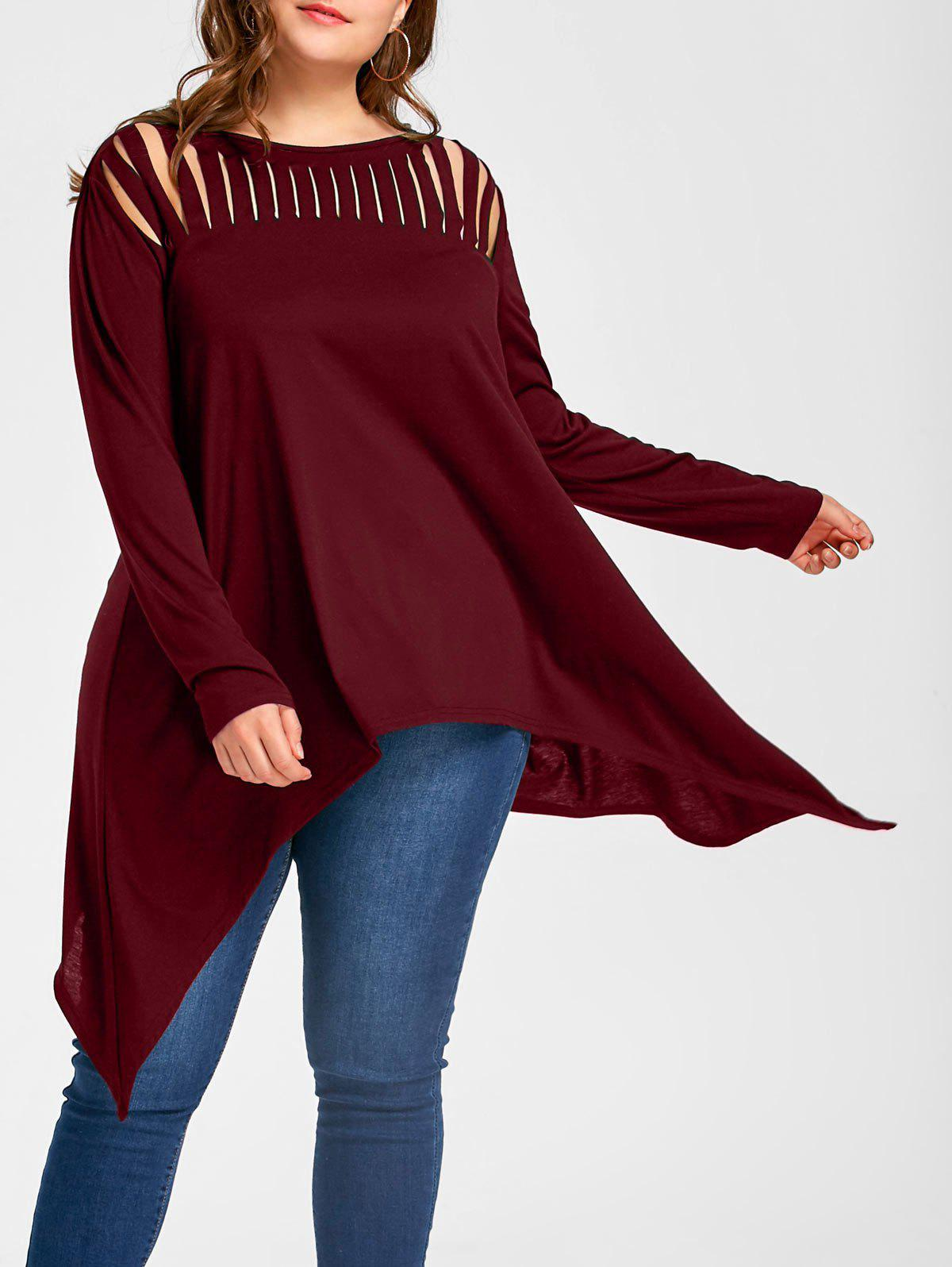 Plus Size Ripped Crescent Hem Tunic TopWOMEN<br><br>Size: XL; Color: WINE RED; Material: Polyester,Spandex; Shirt Length: Long; Sleeve Length: Full; Collar: Slash Neck; Style: Casual; Season: Fall,Spring; Pattern Type: Solid; Weight: 0.3300kg; Package Contents: 1 x Top;