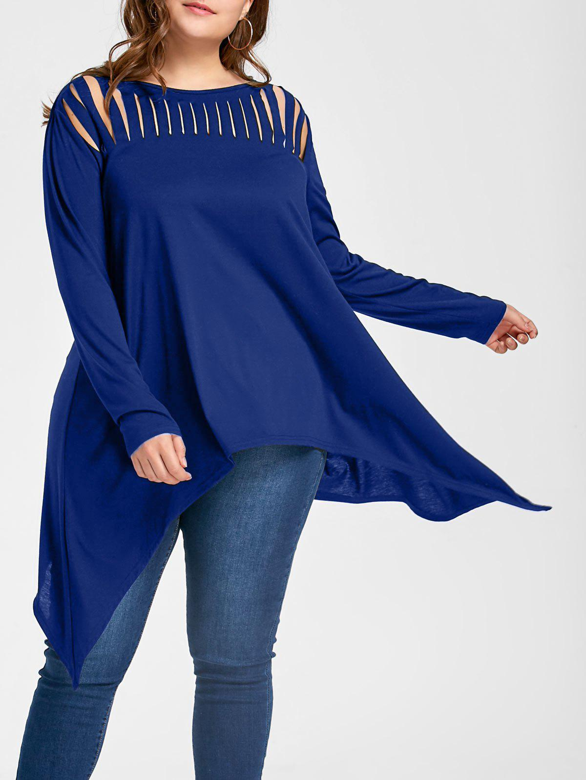 Plus Size Ripped Crescent Hem Tunic TopWOMEN<br><br>Size: 4XL; Color: BLUE; Material: Polyester,Spandex; Shirt Length: Long; Sleeve Length: Full; Collar: Slash Neck; Style: Casual; Season: Fall,Spring; Pattern Type: Solid; Weight: 0.3300kg; Package Contents: 1 x Top;
