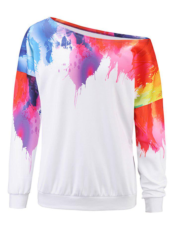 Outfit 3D Painting One Shoulder Sweatshirt