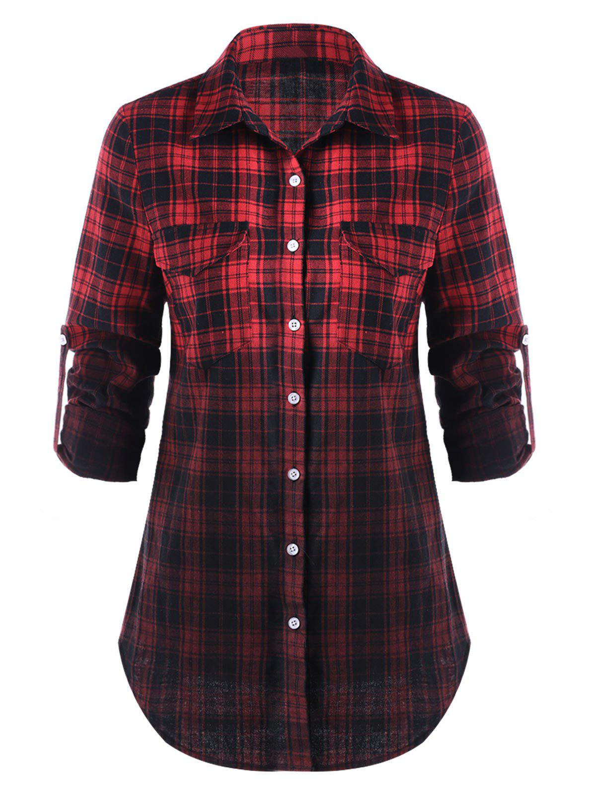 Flap Pockets Ombre Checked ShirtWOMEN<br><br>Size: XL; Color: BLACK&amp;RED; Occasion: Casual; Style: Casual; Material: Polyester,Rayon; Shirt Length: Long; Sleeve Length: Full; Collar: Shirt Collar; Pattern Type: Plaid; Embellishment: Pockets; Season: Fall,Spring; Weight: 0.3000kg; Package Contents: 1 x Shirt;