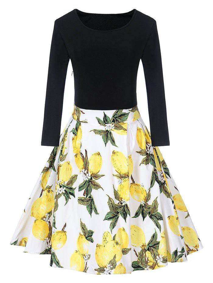 Sale Vintage Lemon Print Skater Fit and Flare Dress