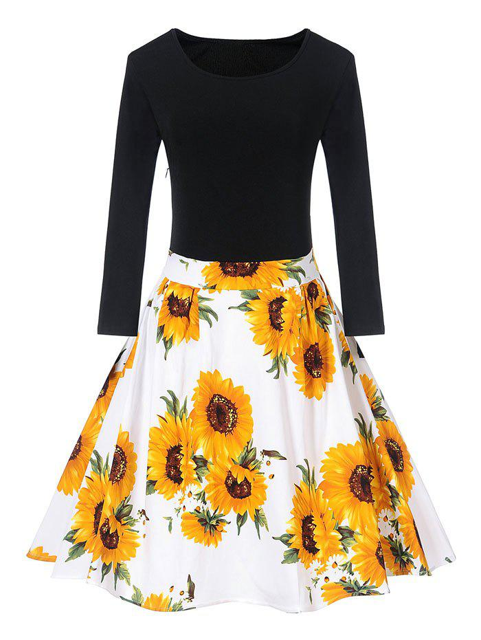 Latest Vintage Sunflower Print Fit and Flare Skater Dress
