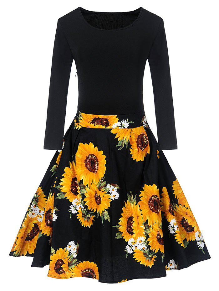 Store Vintage Sunflower Print Fit and Flare Skater Dress