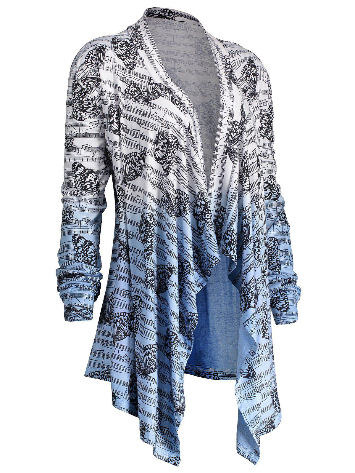 Music Note Butterfly Plus Size Ombre CardiganWOMEN<br><br>Size: 5XL; Color: BLUE AND WHITE; Type: Cardigans; Material: Polyester,Spandex; Sleeve Length: Three Quarter; Collar: Collarless; Style: Fashion; Season: Fall,Spring; Pattern Type: Others; Weight: 0.3700kg; Package Contents: 1 x Cardigan;