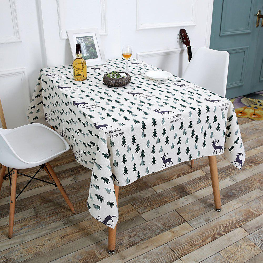 Christmas Trees Elk Pattern Table ClothHOME<br><br>Size: W55 INCH * L71 INCH; Color: COLORFUL; Type: Table Cloth; Material: Linen; Pattern Type: Animal,Plant; Weight: 0.3700kg; Package Contents: 1 x Table Cloth;
