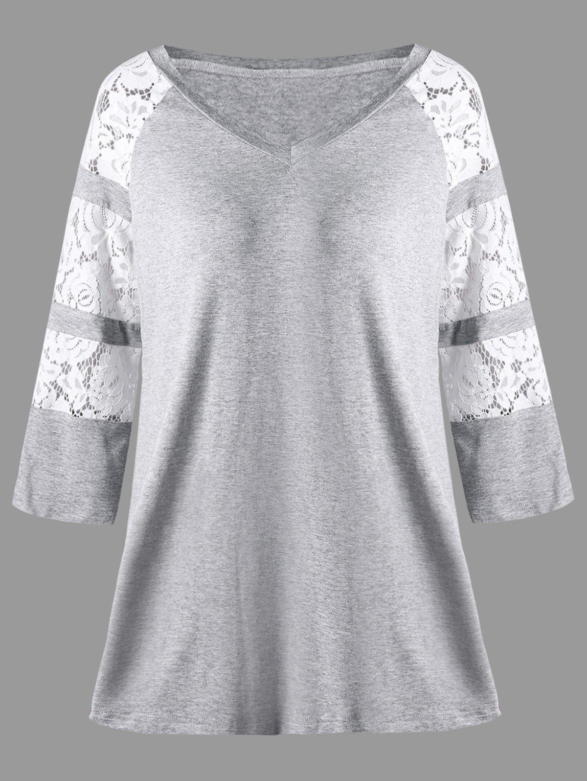 Plus Size Marled Lace Insert V Neck TopWOMEN<br><br>Size: 5XL; Color: GRAY; Material: Rayon,Spandex; Shirt Length: Long; Sleeve Length: Three Quarter; Collar: V-Neck; Style: Casual; Season: Fall,Spring; Embellishment: Lace; Pattern Type: Floral; Weight: 0.2700kg; Package Contents: 1 x T-shirt;