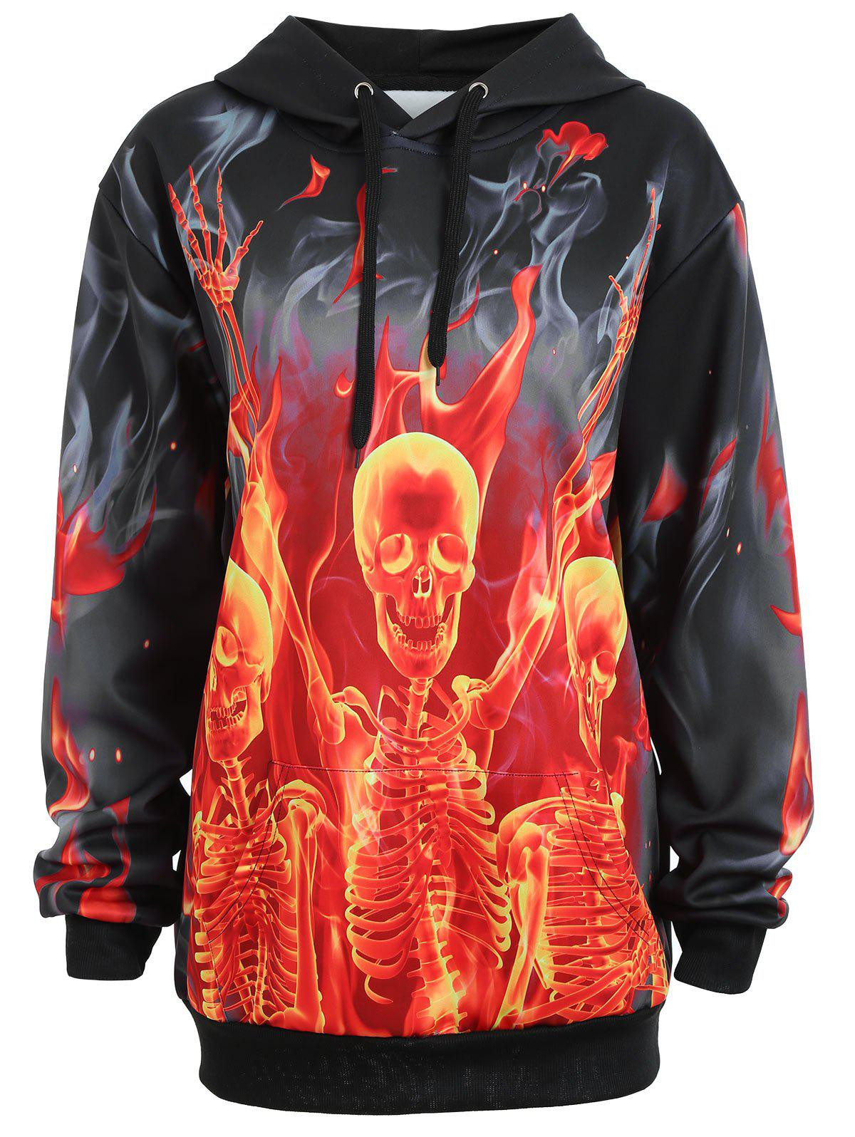 Unique Plus Size Pocket Halloween Skeleton Fire Hoodie