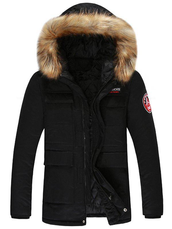 Detachable Hood Velcro Pocket Parka JacketMEN<br><br>Size: L; Color: BLACK; Clothes Type: Parkas; Style: Casual; Material: Cotton,Faux Fur,Polyester; Collar: Hooded; Shirt Length: Regular; Sleeve Length: Long Sleeves; Season: Winter; Weight: 1.1700kg; Package Contents: 1 x Jacket;