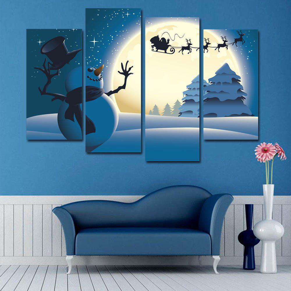 Christmas Moon Snowflake Pattern Unframed Split Canvas PaintingsHOME<br><br>Size: 30*60CM*2PCS/30*80CM*2PCS; Color: BLUE; Subjects: Christmas; Features: Decorative; Hang In/Stick On: Bedrooms,Hotels,Living Rooms,Offices,Stair; Shape: Horizontal; Form: Five Panels,Four Panels; Frame: No; Material: Canvas; Package Contents: 1 x Canvas Paintings (Set);