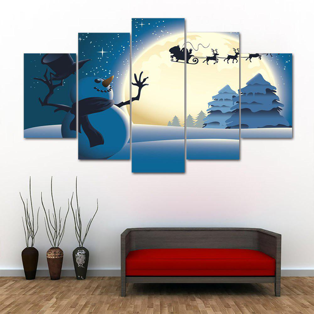 Christmas Moon Snowflake Pattern Unframed Split Canvas PaintingsHOME<br><br>Size: 30*40CM*2PCS/30*60CM*2PCS/30*80CM*1PCS; Color: BLUE; Subjects: Christmas; Features: Decorative; Hang In/Stick On: Bedrooms,Hotels,Living Rooms,Offices,Stair; Shape: Horizontal; Form: Five Panels,Four Panels; Frame: No; Material: Canvas; Package Contents: 1 x Canvas Paintings (Set);