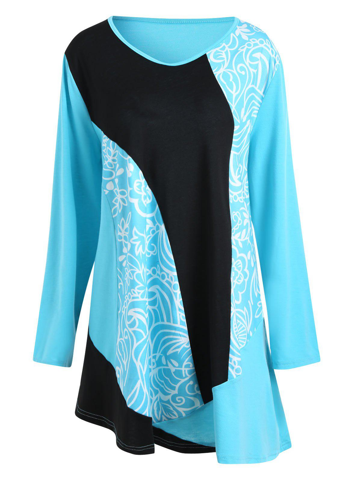 Color Block  Floral Printed Plus Size Tee DressWOMEN<br><br>Size: 5XL; Color: BLUE; Style: Casual; Material: Cotton Blend,Polyester; Silhouette: A-Line; Dresses Length: Mini; Neckline: V-Neck; Sleeve Length: Long Sleeves; Pattern Type: Floral,Print; With Belt: No; Season: Fall,Spring; Weight: 0.3600kg; Package Contents: 1 x Dress;