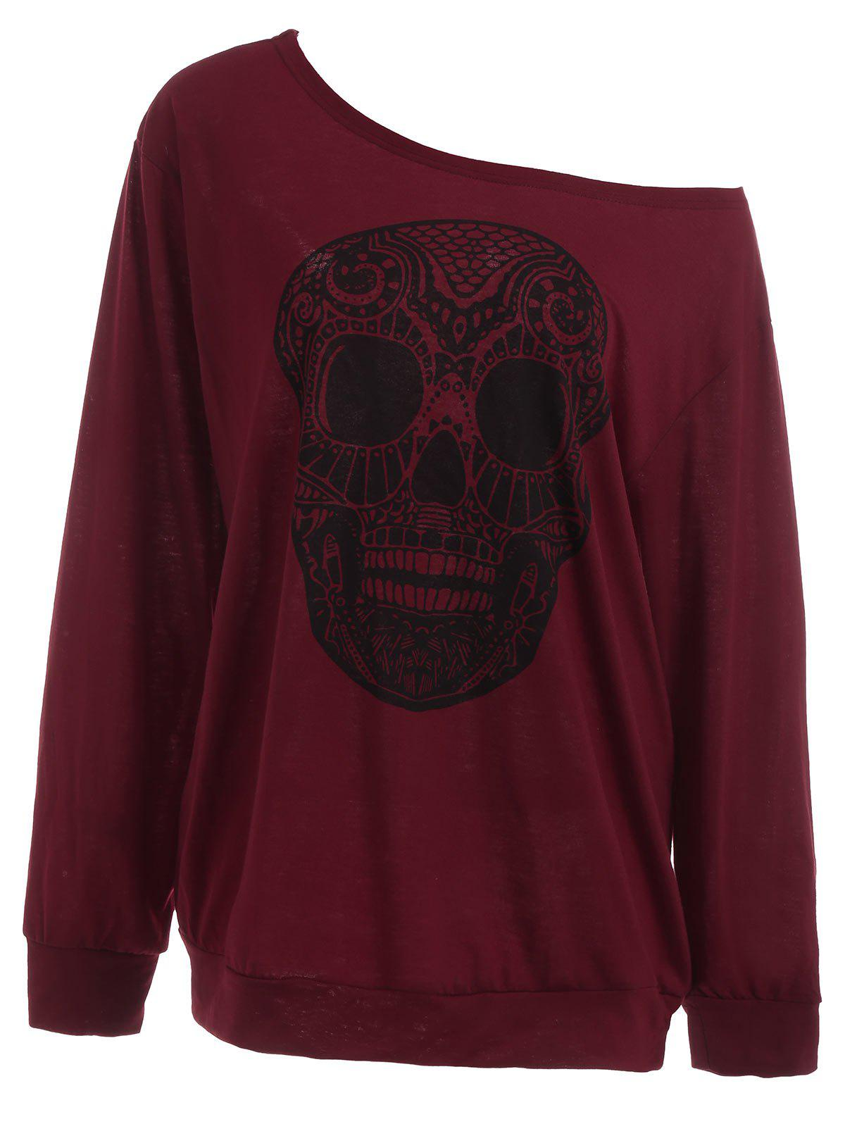 Plus Size Skull Skew Collar SweatshirtWOMEN<br><br>Size: 3XL; Color: WINE RED; Material: Polyester,Spandex; Shirt Length: Long; Sleeve Length: Full; Style: Casual; Pattern Style: Skulls; Season: Fall,Spring; Weight: 0.3700kg; Package Contents: 1 x Sweatshirt;