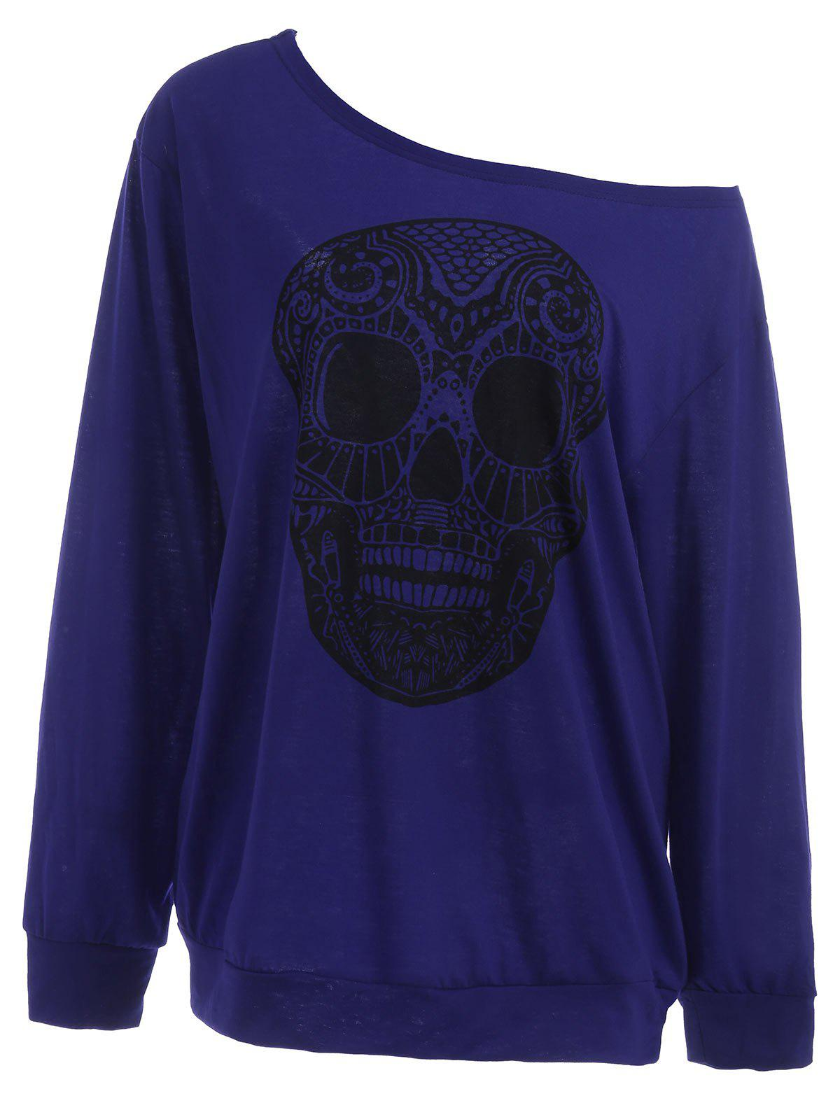 Plus Size Skull Skew Collar SweatshirtWOMEN<br><br>Size: 3XL; Color: BLUE; Material: Polyester,Spandex; Shirt Length: Long; Sleeve Length: Full; Style: Casual; Pattern Style: Skulls; Season: Fall,Spring; Weight: 0.3700kg; Package Contents: 1 x Sweatshirt;