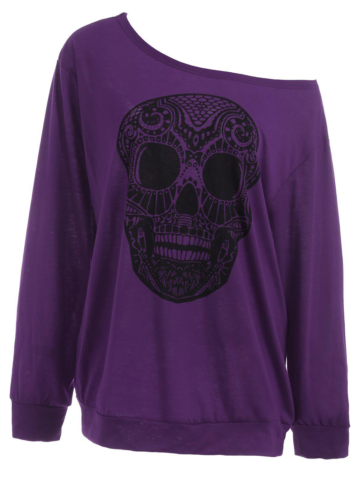 Plus Size Skull Skew Collar SweatshirtWOMEN<br><br>Size: 2XL; Color: PURPLE; Material: Polyester,Spandex; Shirt Length: Long; Sleeve Length: Full; Style: Casual; Pattern Style: Skulls; Season: Fall,Spring; Weight: 0.3700kg; Package Contents: 1 x Sweatshirt;