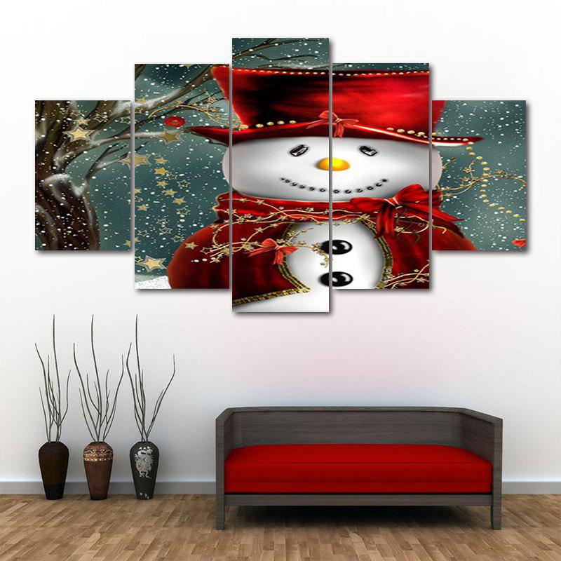 Christmas Snowman In Hat Print Unframed Split Canvas PaintingsHOME<br><br>Size: 30*40CM*2PCS/30*60CM*2PCS/30*80CM*1PCS; Color: COLORMIX; Subjects: Christmas; Features: Decorative; Hang In/Stick On: Bedrooms,Hotels,Living Rooms,Offices,Stair; Shape: Horizontal; Form: Five Panels,Four Panels; Frame: No; Material: Canvas; Package Contents: 1 x Canvas Paintings (Set);