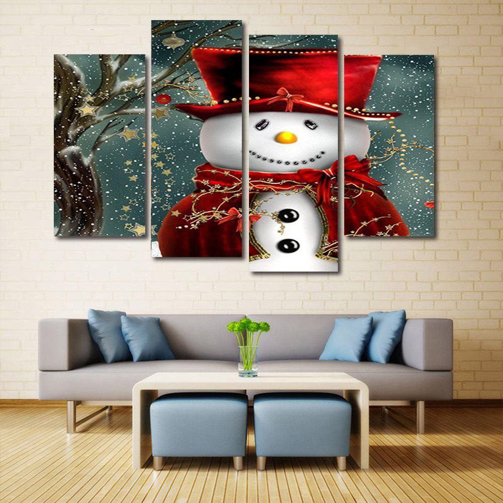 Christmas Snowman In Hat Print Unframed Split Canvas PaintingsHOME<br><br>Size: 30*60CM*2PCS/30*80CM*2PCS; Color: COLORMIX; Subjects: Christmas; Features: Decorative; Hang In/Stick On: Bedrooms,Hotels,Living Rooms,Offices,Stair; Shape: Horizontal; Form: Five Panels,Four Panels; Frame: No; Material: Canvas; Package Contents: 1 x Canvas Paintings (Set);