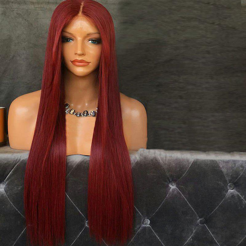 Long Middle Part Straight Synthetic Lace Front WigHAIR<br><br>Color: WINE RED; Type: Full Wigs; Cap Construction: Lace Front; Style: Straight; Cap Size: Average; Material: Synthetic Hair; Bang Type: Middle; Length: Long; Lace Wigs Type: Lace Front Wigs; Occasion: Brithday Party,Daily,Party,Wedding; Length Size(CM): 70; Heat Resistant: Below 200?; Weight: 0.3250kg; Package Contents: 1 x Wig;