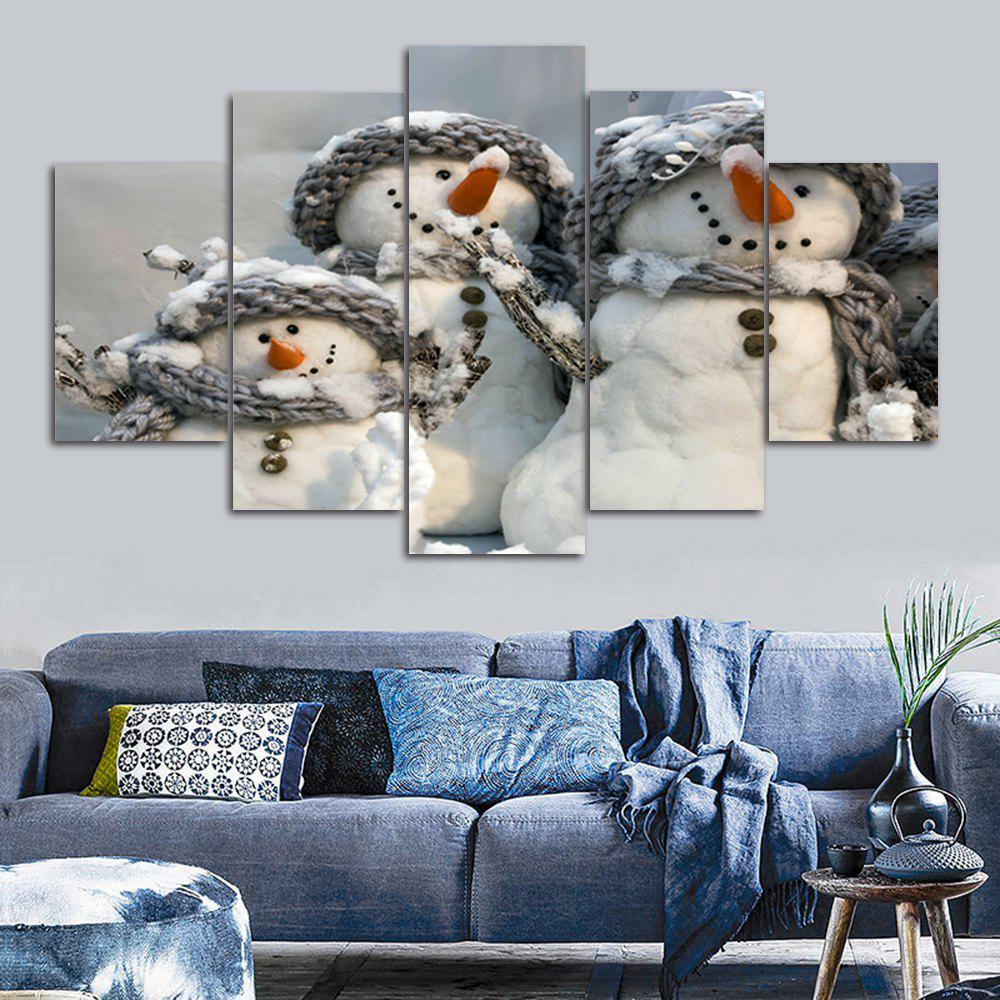 Christmas Snowmen Print Unframed Split Canvas PaintingsHOME<br><br>Size: 30*40CM*2PCS/30*60CM*2PCS/30*80CM*1PCS; Color: GREY WHITE; Subjects: Christmas; Features: Decorative; Hang In/Stick On: Bedrooms,Hotels,Living Rooms,Offices,Stair; Shape: Horizontal; Form: Five Panels,Four Panels; Frame: No; Material: Canvas; Package Contents: 1 x Canvas Paintings (Set);