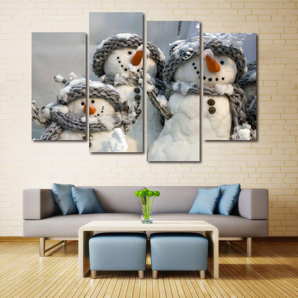 Fashion Christmas Snowmen Print Unframed Split Canvas Paintings